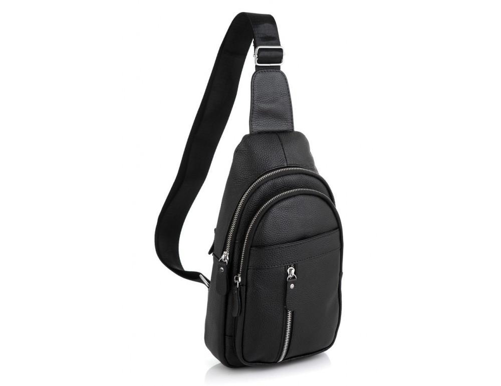 Чёрная кожаная сумка слинг Tiding Bag 5443A