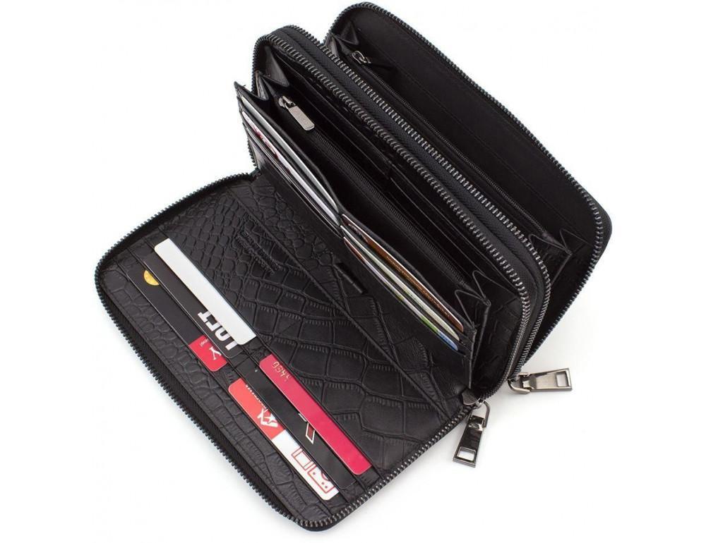 Чёрный кожаный клатч на две молнии Marco Coverna 5902A - Фото № 3