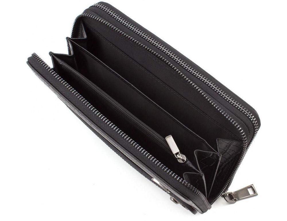 Чёрный кожаный клатч на две молнии Marco Coverna 5902A - Фото № 4