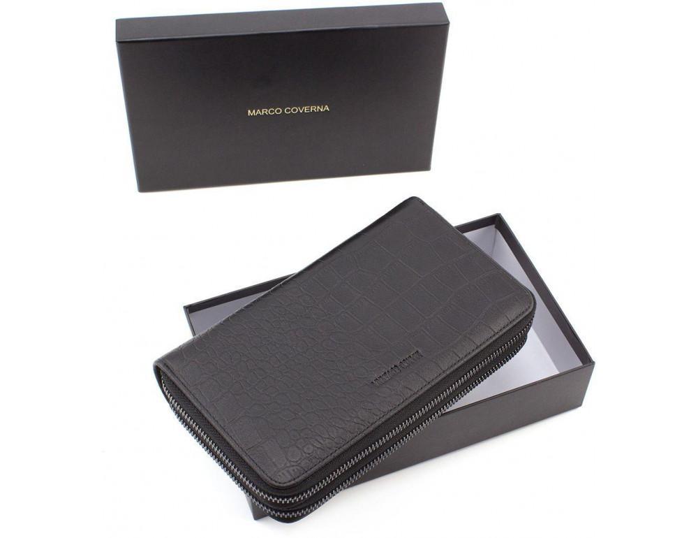 Чёрный кожаный клатч на две молнии Marco Coverna 5902A - Фото № 7