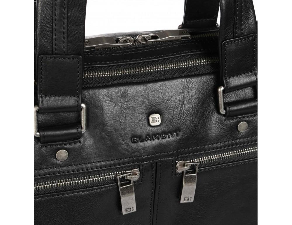 Чёрная кожаная деловая сумка Blamont P5912071 - Фото № 9