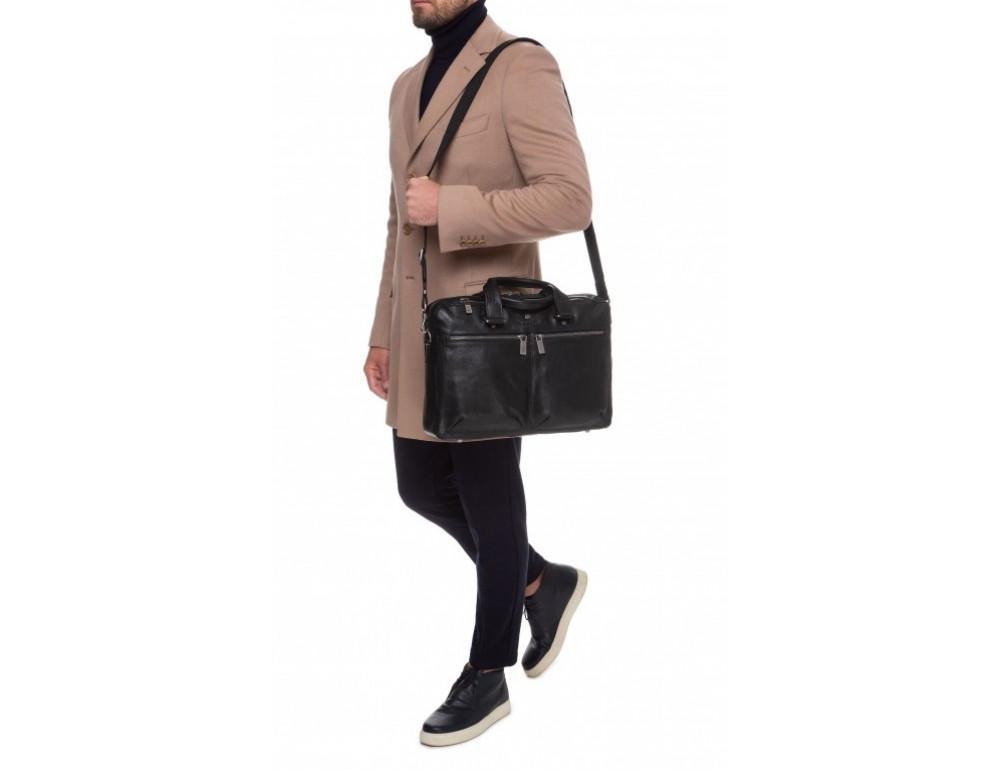 Чёрная кожаная деловая сумка Blamont P5912071 - Фото № 12