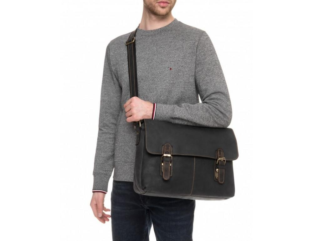 Винтажная сумка через плечо TIDING BAG 6002LA-2 Чёрная - Фото № 2
