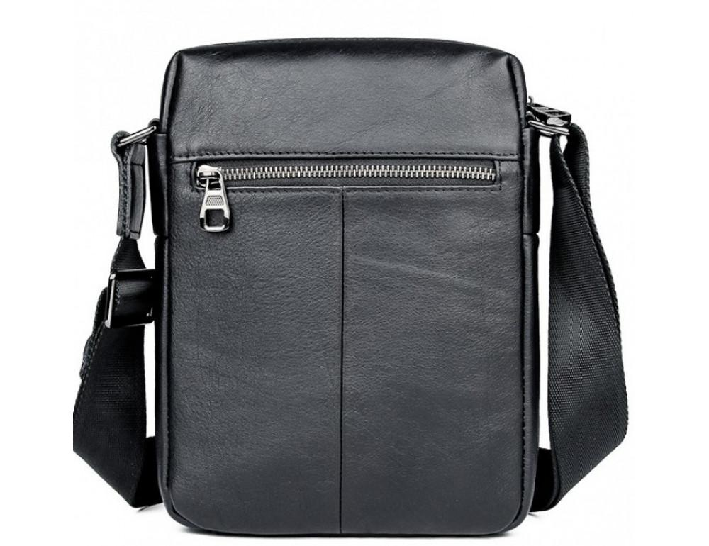 Чёрная кожаная сумка-мессенджер Tiding Bag 6026A - Фото № 2