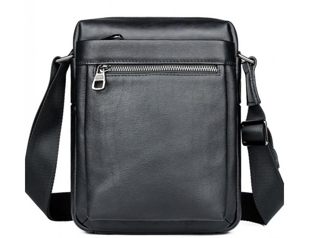 Чёрная кожаная сумка-мессенджер Tiding Bag 6026A - Фото № 1