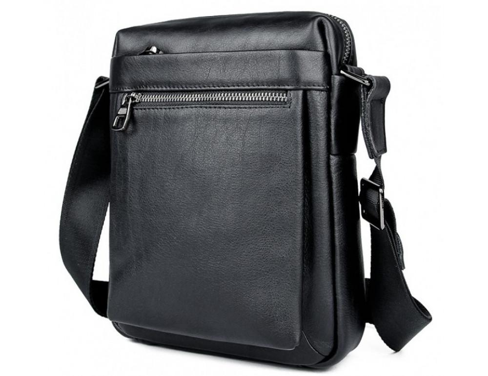 Чёрная кожаная сумка-мессенджер Tiding Bag 6026A - Фото № 3