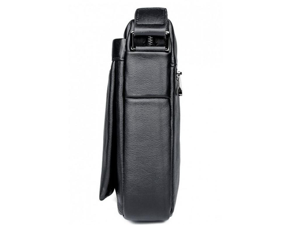 Чёрная кожаная сумка-мессенджер Tiding Bag 6026A - Фото № 4