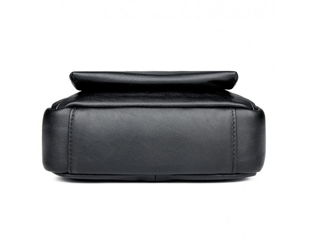 Чёрная кожаная сумка-мессенджер Tiding Bag 6026A - Фото № 5
