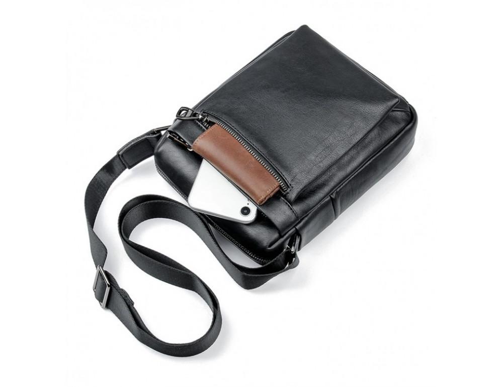 Чёрная кожаная сумка-мессенджер Tiding Bag 6026A - Фото № 6