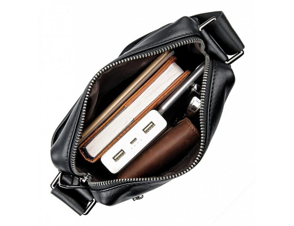 Чёрная кожаная сумка-мессенджер Tiding Bag 6026A - Фото № 7