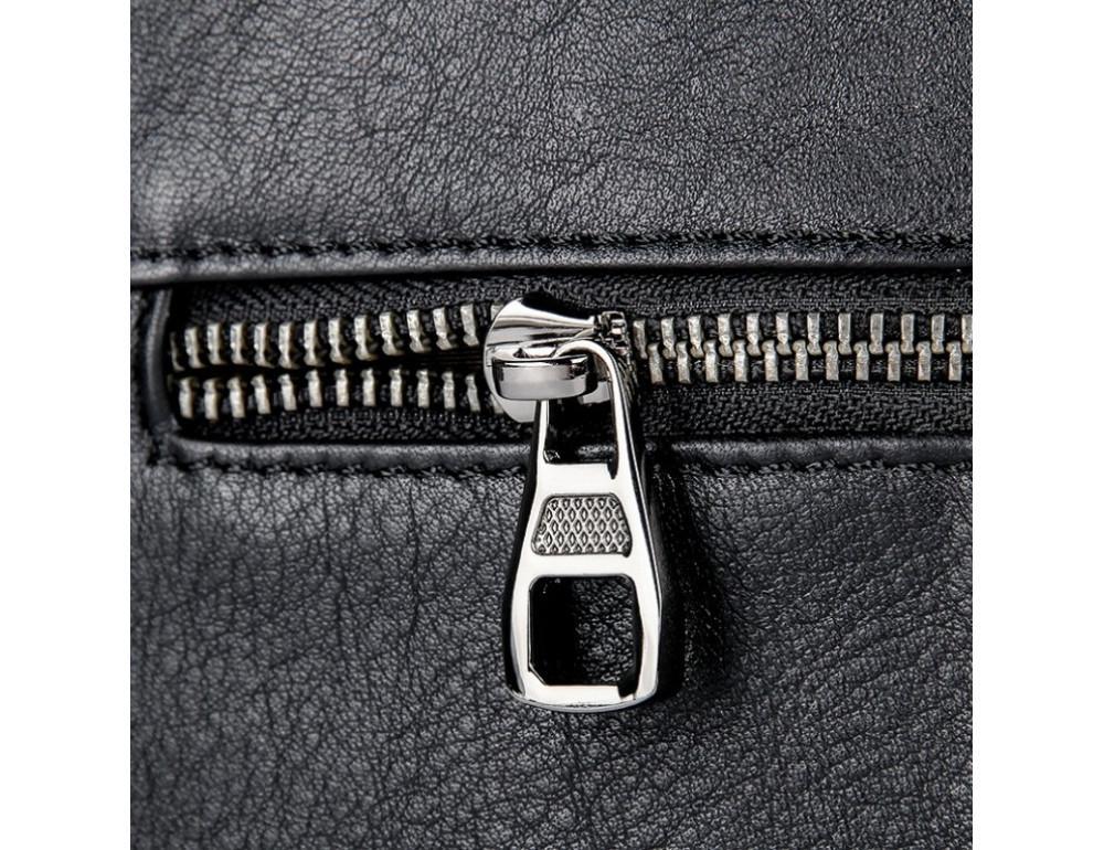 Чёрная кожаная сумка-мессенджер Tiding Bag 6026A - Фото № 9