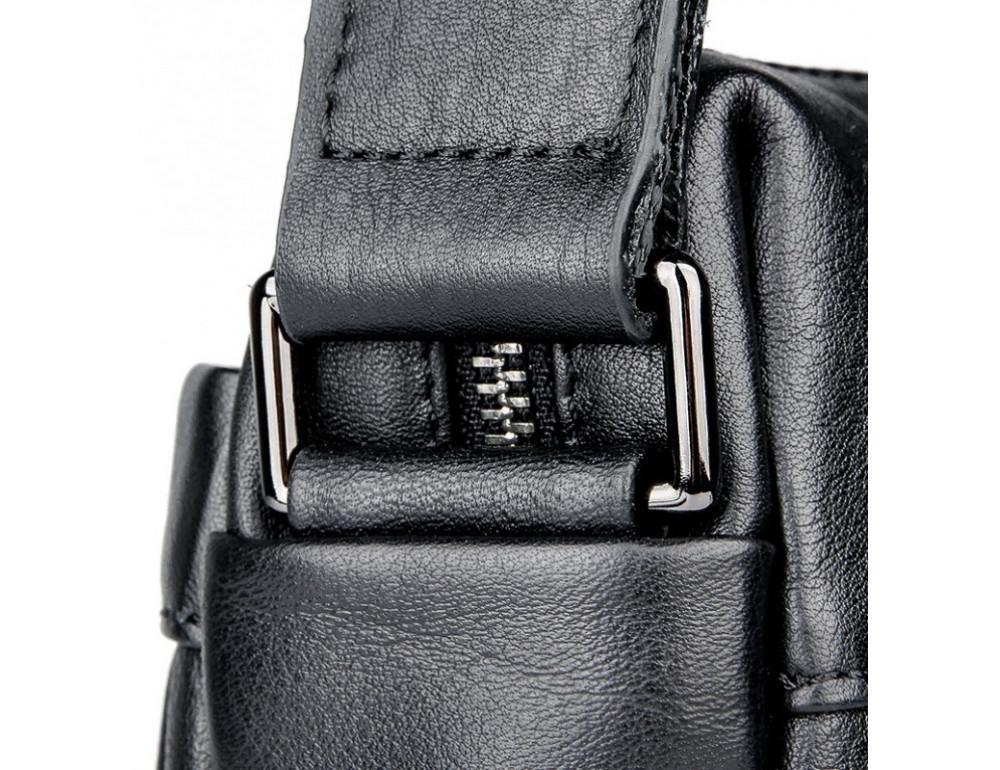 Чёрная кожаная сумка-мессенджер Tiding Bag 6026A - Фото № 10