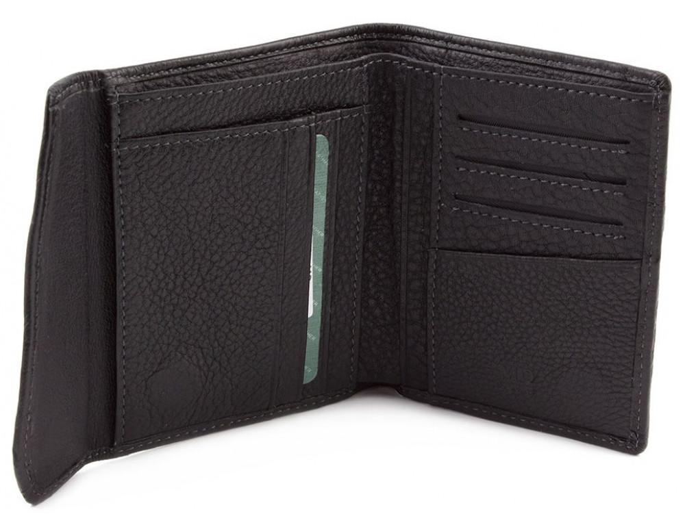 Чёрный кожаный портмоне на магнитах MD Leather Collection 604-a - Фото № 2
