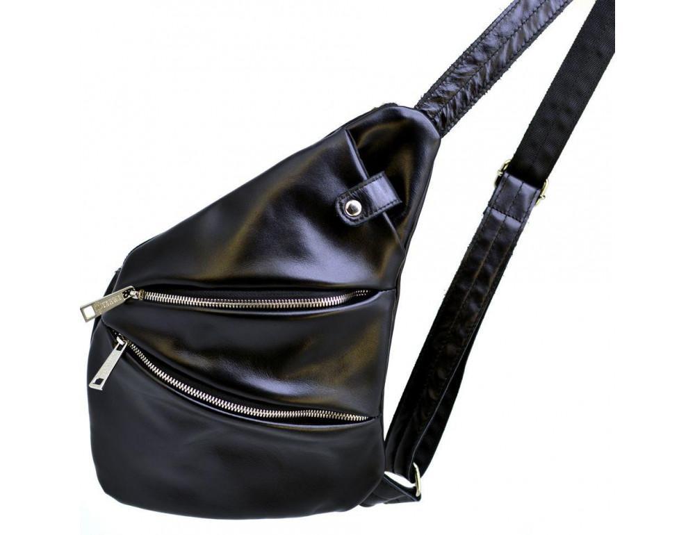 Чёрная сумка на плечо из кожи TARWA GA-6402-3md - Фото № 3