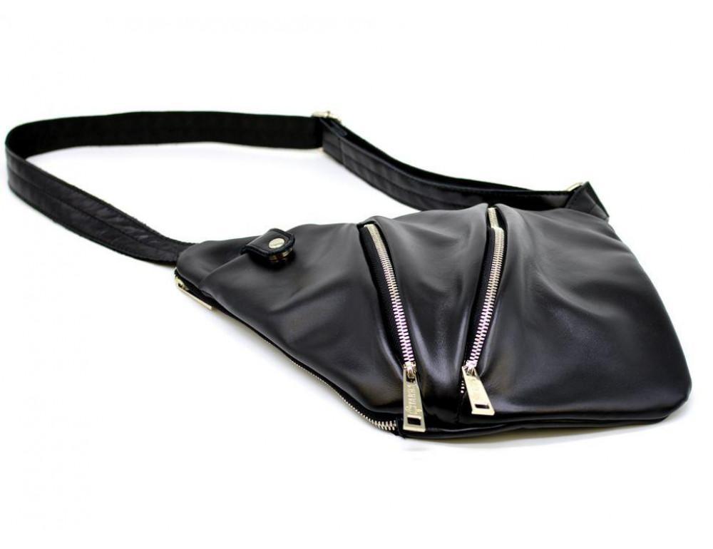 Чёрная сумка на плечо из кожи TARWA GA-6402-3md - Фото № 4
