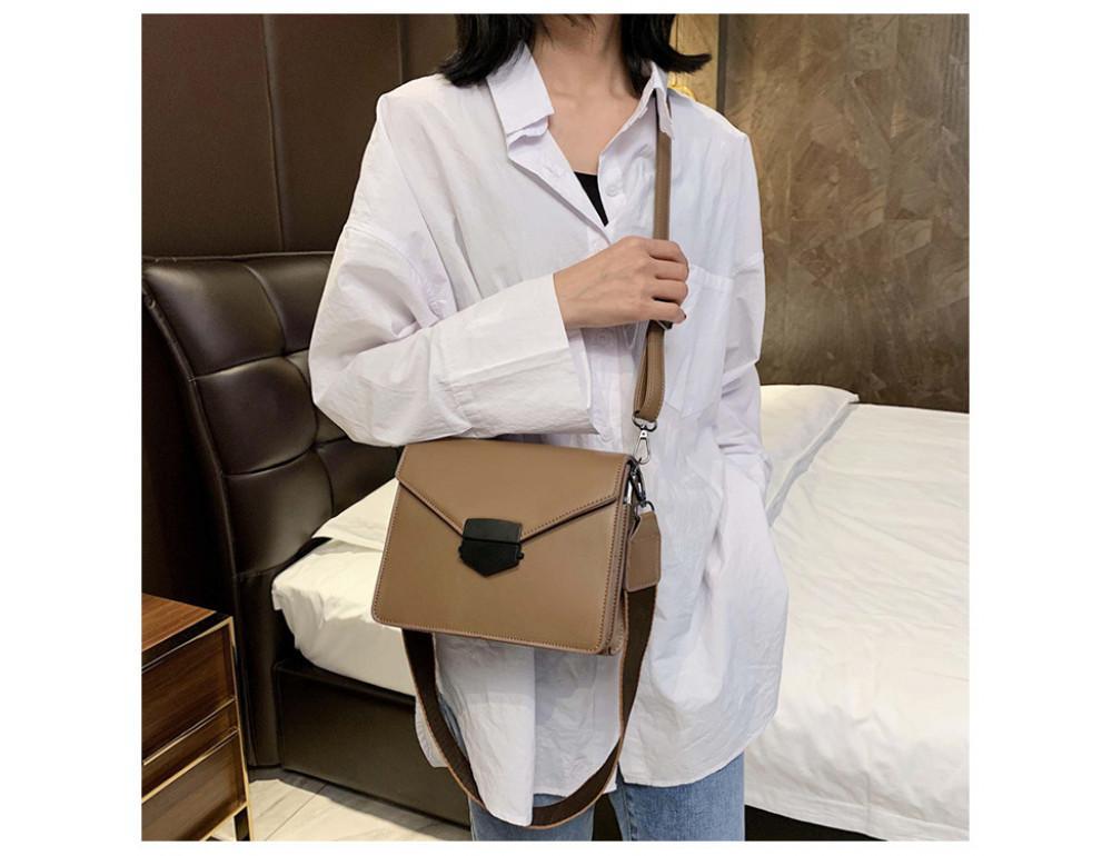 Тёмно-пудровая женская сумока из пу-кожи Ramiel 6905KH - Фото № 3