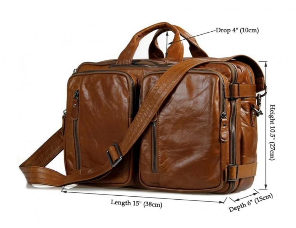Мужская сумка - трансформер JASPER-MAINE 7014B коричневая - Фото № 4