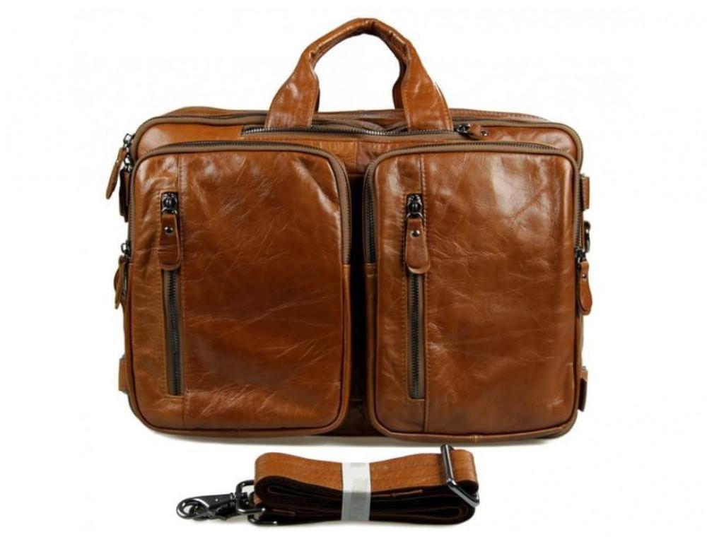 Мужская сумка - трансформер JASPER-MAINE 7014B коричневая - Фото № 5