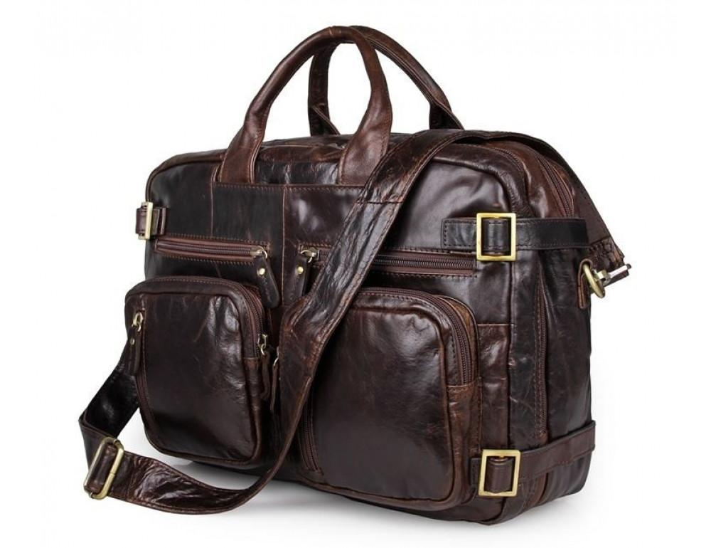 Коричневая мужская сумка трансформер John McDee 7026Q-1 - Фото № 1
