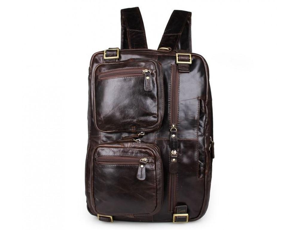Коричневая мужская сумка трансформер John McDee 7026Q-1 - Фото № 5
