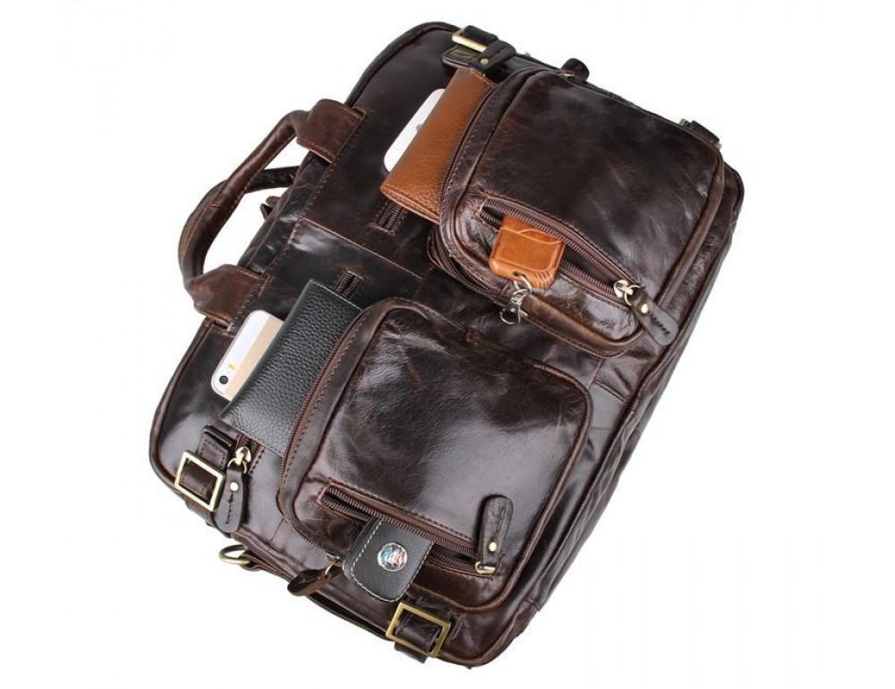 Коричневая мужская сумка трансформер John McDee 7026Q-1 - Фото № 7