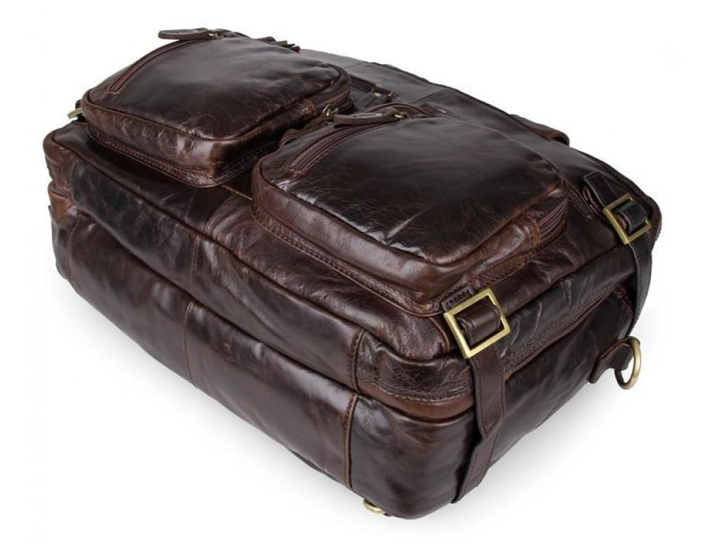 Коричневая мужская сумка трансформер John McDee 7026Q-1 - Фото № 8