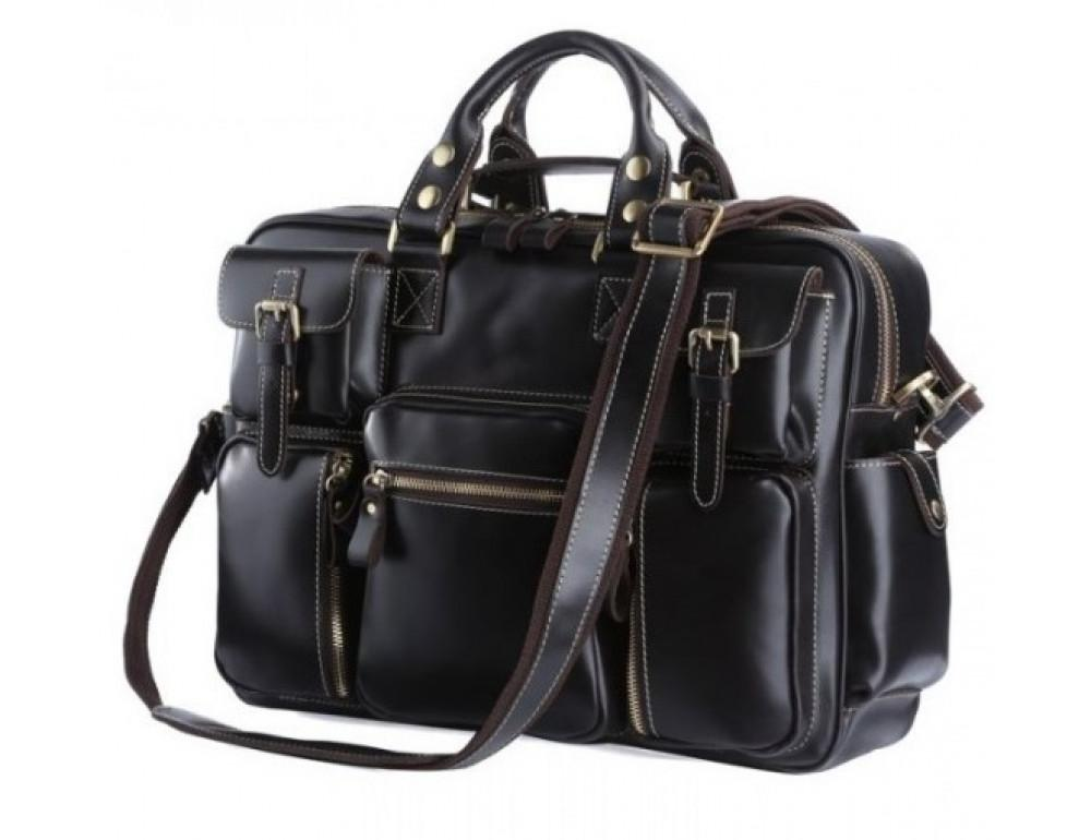 Кожаная мужская сумка TIDING BAG 7028A чёрный - Фото № 1