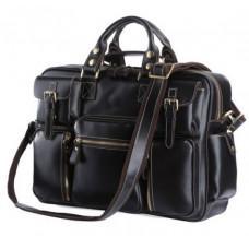 Кожаная мужская сумка TIDING BAG 7028A чёрный