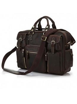 Чоловічий шкіряний портфель TIDING BAG 7028R темно-коричневий