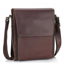 Коричневый кожаный мессенджер среднего размера Tiding Bag 7055B-2