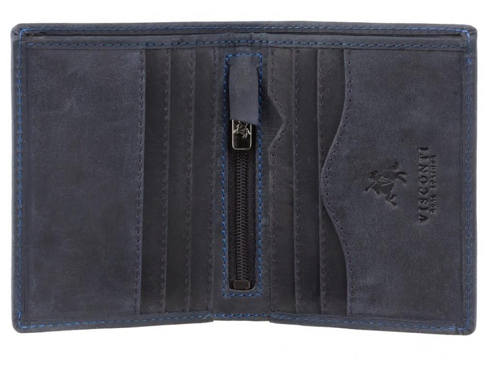 Синий кожаный кошелек мужской Visconti 705 OIL BLUE  Arrow - Фото № 2