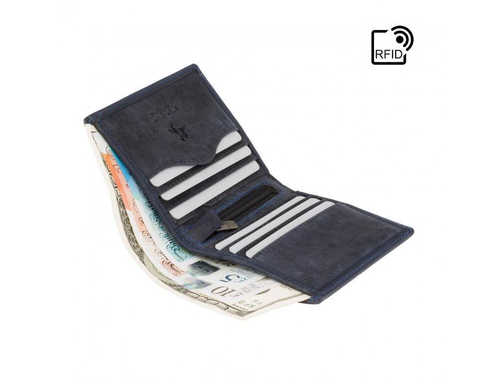 Синий кожаный кошелек мужской Visconti 705 OIL BLUE  Arrow - Фото № 4