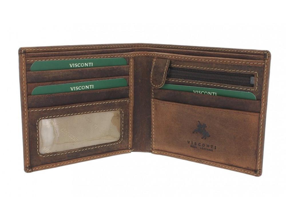 Мужской кожаный кошелек Visconti 707 - Shield коричневый - Фото № 2