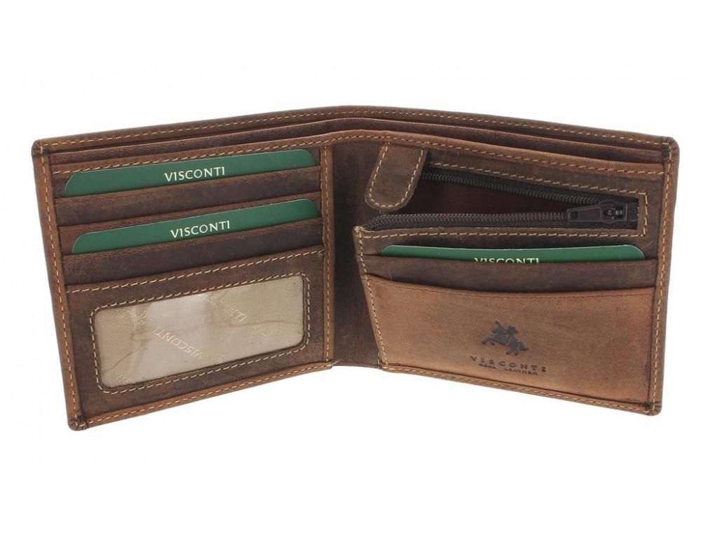 Мужской кожаный кошелек Visconti 707 - Shield коричневый - Фото № 3