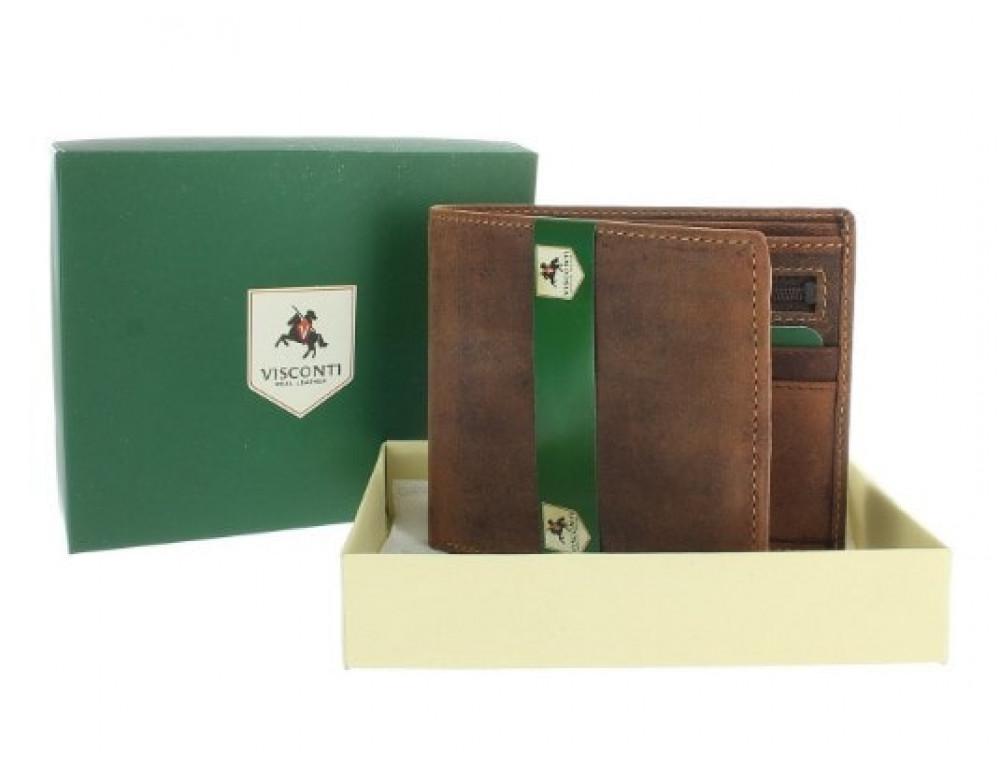 Мужской кожаный кошелек Visconti 707 - Shield коричневый - Фото № 6