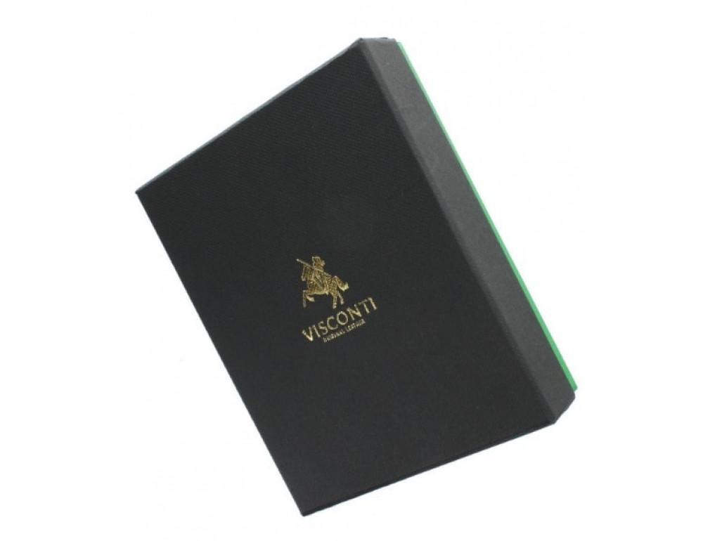 Мужской кожаный кошелек Visconti PM100 BK/CB Vincent чёрный - Фото № 7