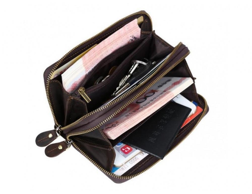 Винтажный клатч TIDING BAG t4009 тёмно-коричневый - Фото № 2