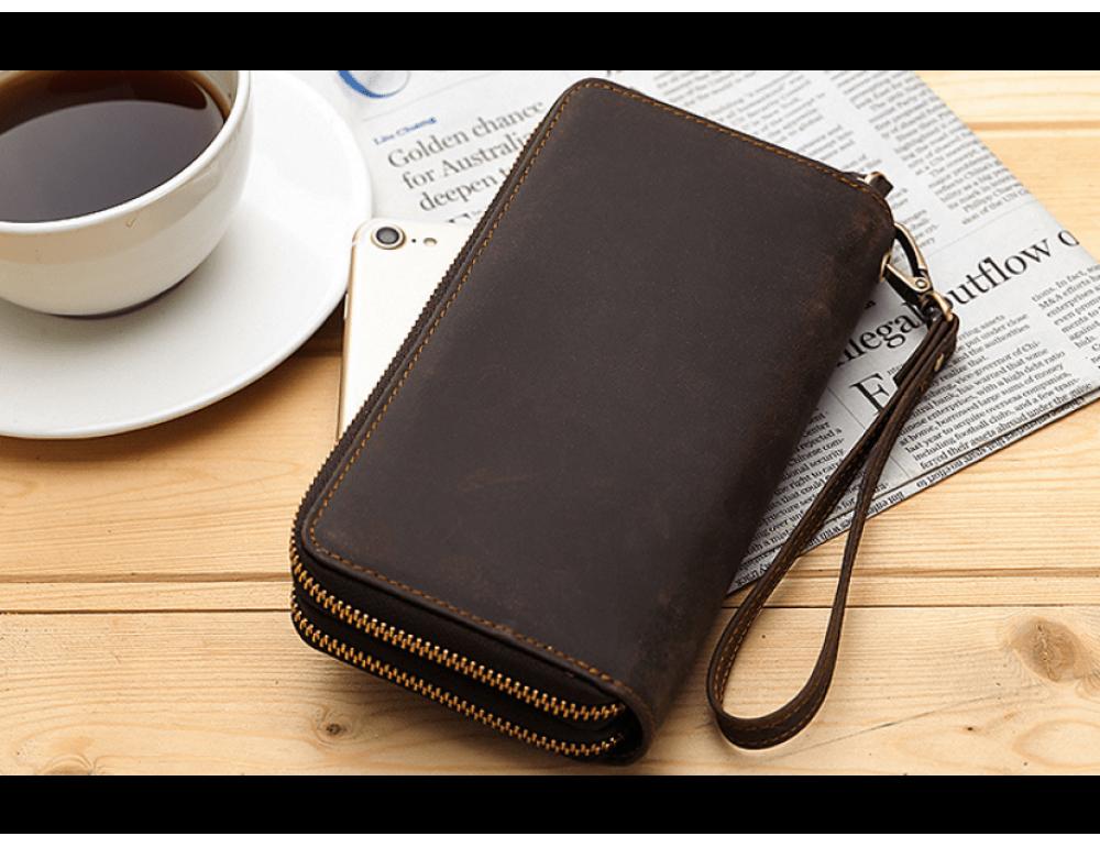 Винтажный клатч TIDING BAG t4009 тёмно-коричневый - Фото № 8