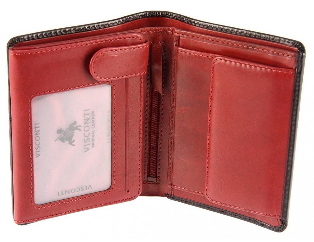 Мужской кожаный кошелек Visconti TR34 BLK/RED Waldorf чёрный с красным - Фото № 2