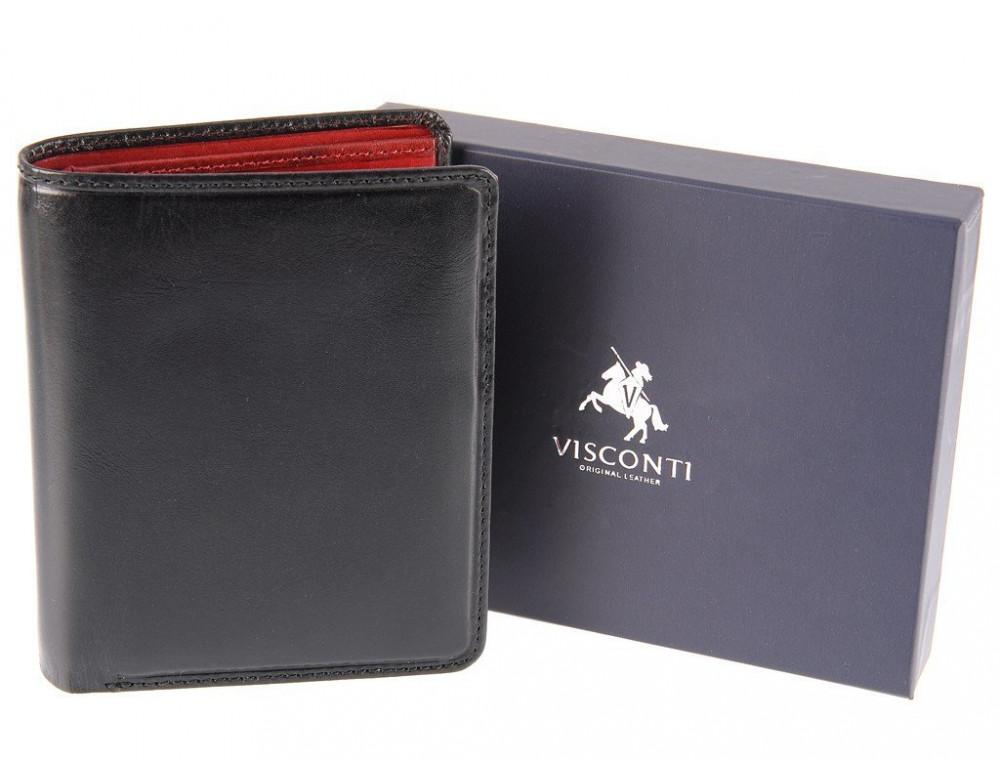 Мужской кожаный кошелек Visconti TR34 BLK/RED Waldorf чёрный с красным - Фото № 3