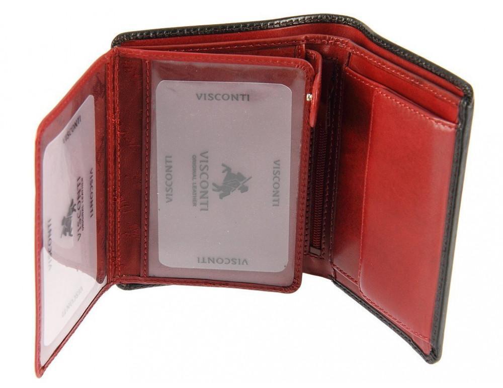Мужской кожаный кошелек Visconti TR34 BLK/RED Waldorf чёрный с красным - Фото № 4