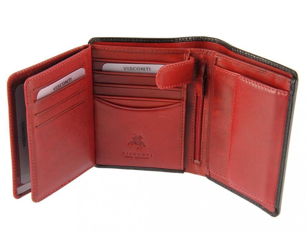 Мужской кожаный кошелек Visconti TR34 BLK/RED Waldorf чёрный с красным - Фото № 5