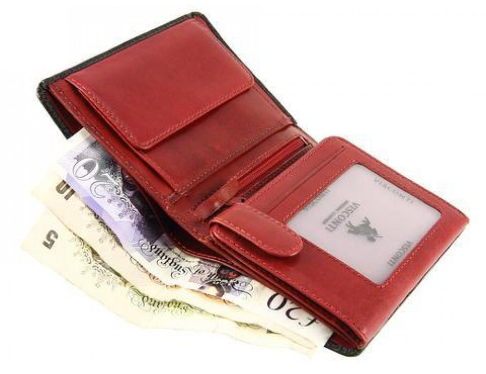 Мужской кожаный кошелек Visconti TR34 BLK/RED Waldorf чёрный с красным - Фото № 6