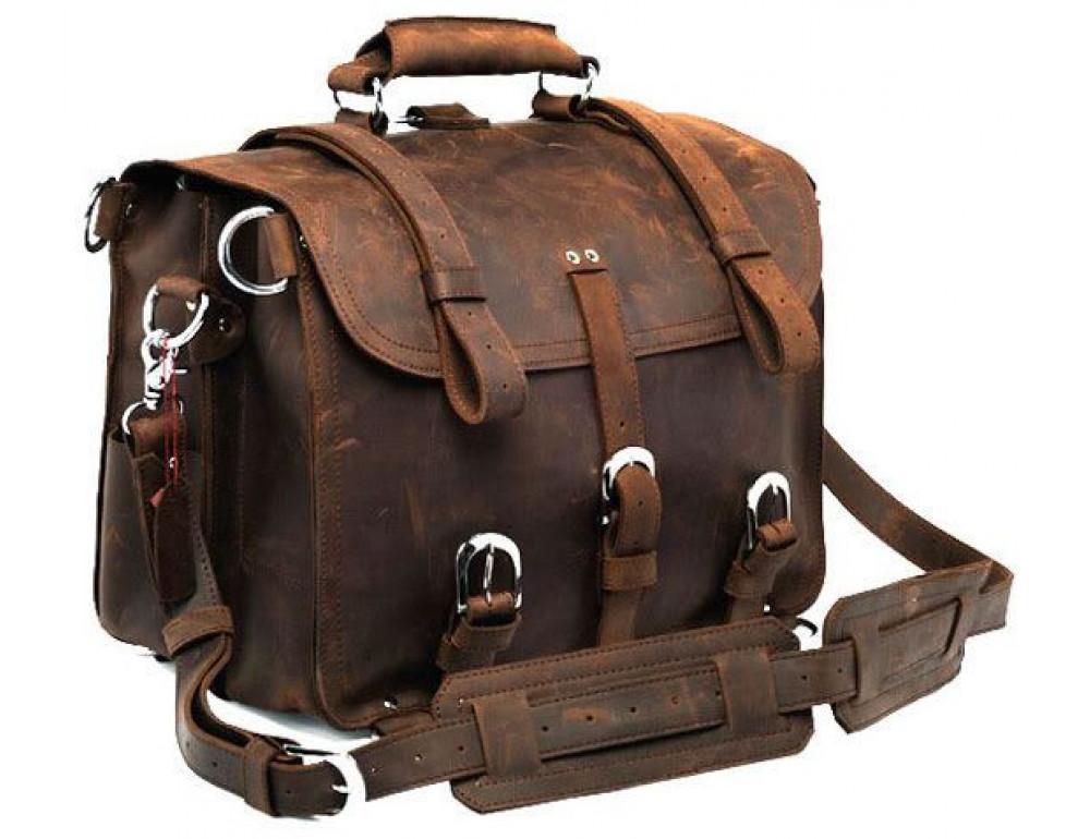 Большая сумка трасформер из лошадиной кожи Jasper Maine 7072R - Фото № 3