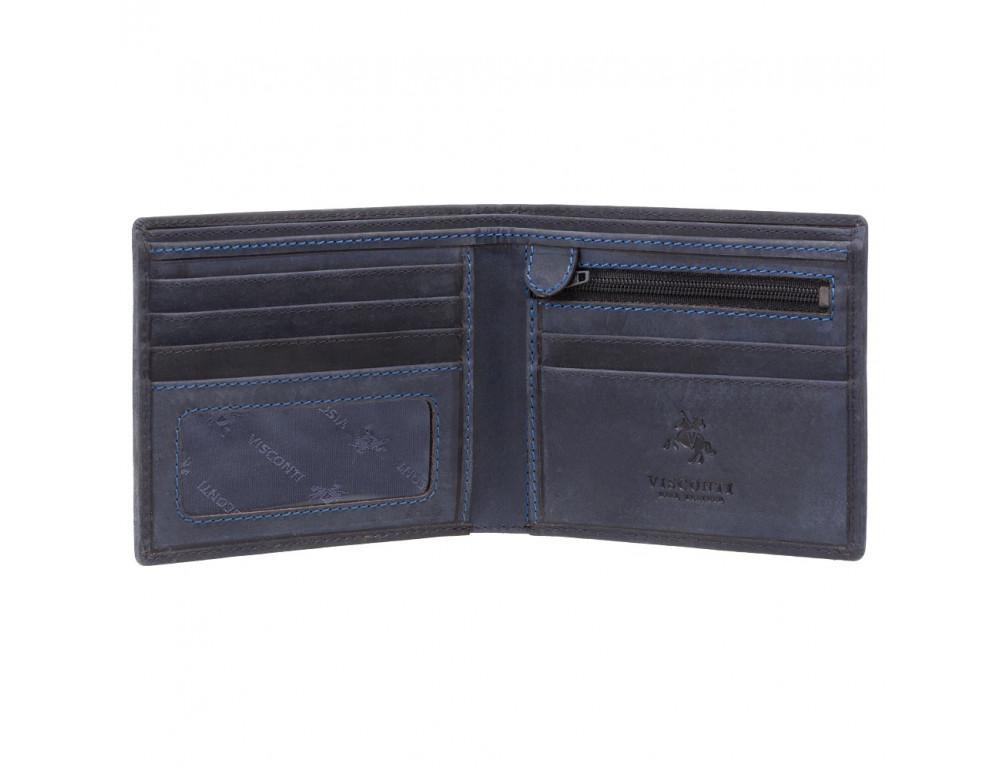 Синий кожаный кошелек мужской Visconti 707 OIL BLUE Shield - Фото № 2