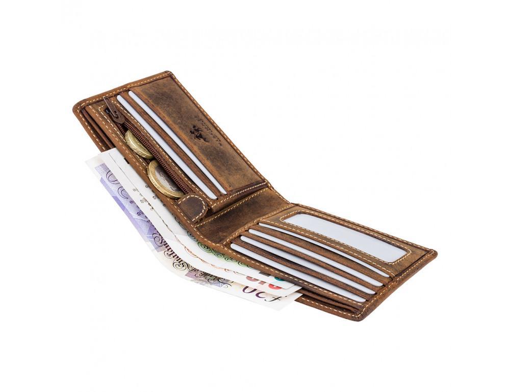 Мужской кожаный кошелек Visconti 707 - Shield коричневый - Фото № 4