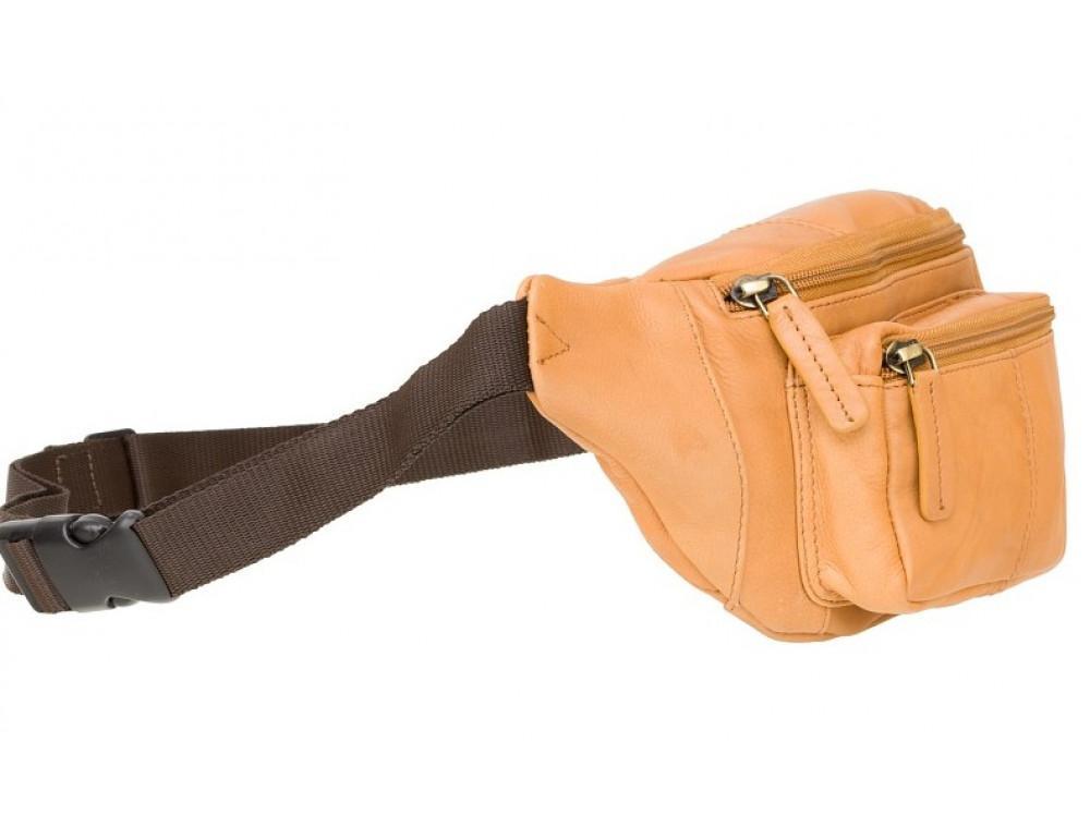 Светло-коричневая кожаная сумкм на пояс Visconti 720 SND Bumbag - Фото № 2