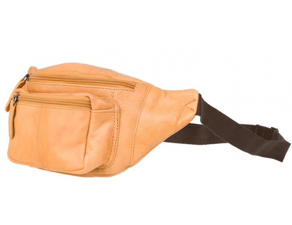 Светло-коричневая кожаная сумкм на пояс Visconti 720 SND Bumbag - Фото № 4