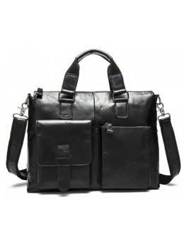 Чёрная кожаная сумка для ноутбука 13' Tiding Bag 7264A