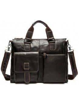 Коричневая кожаная сумка для ноутбука 13' Tiding Bag 7264C